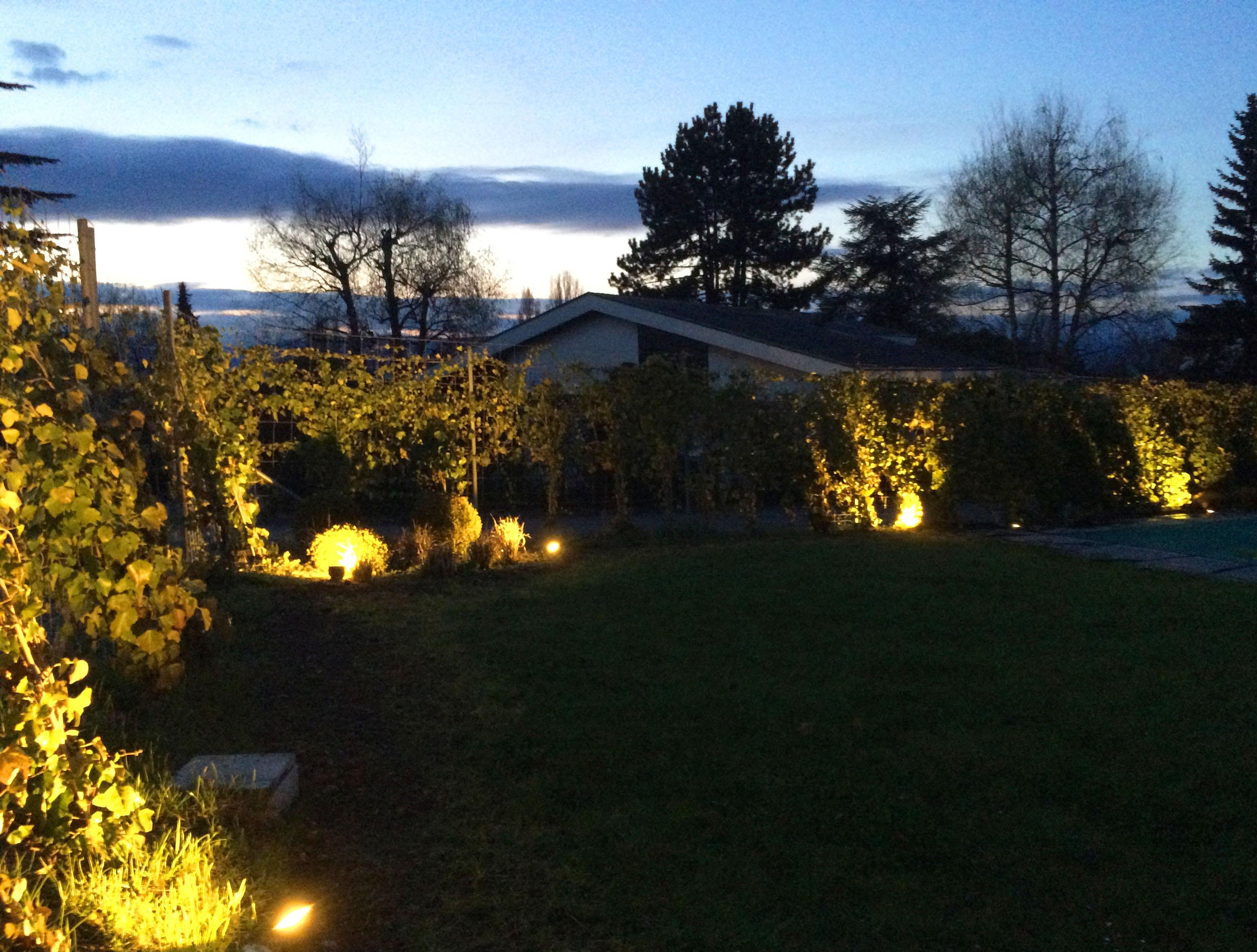 Joli jardin eclair a gen ve jardins de nuit renaud serniclay for Eclairage d un jardin